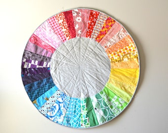 Rainbow Color Wheel Quilt - Baby Play Mat - Circle Rug -  Nursery Room Decor - Color Wheel Wall Hanging