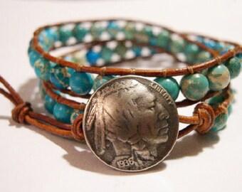 Wrap Bracelet, Beaded wrap bracelet, Beaded leather wrap, Double Wrap bead bracelet, Boho bead wrap - 831