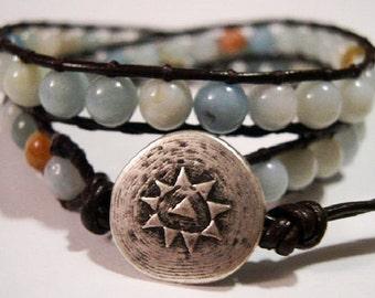 Beaded wrap bracelet, Wrap bracelet, Beaded LeatherWrap, Boho bracelet, Beaded wrap - 834
