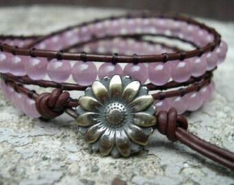 Wrap Bracelet, Beaded wrap bracelet, Beaded leather wrap, Double Wrap bead bracelet, Boho bead wrap - 776