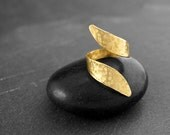 TWISTED WRAP RING Hammered Brass Ring - Adjustable Band