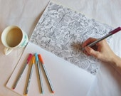 """Colouring in Book for Adults, """"Symbiosis"""" illustrated by Rebecca Crawford"""