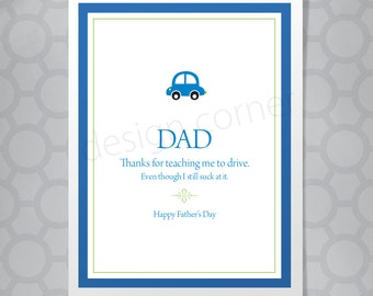 Funny Illustrated Thanks for Teaching me to Drive Father's Day or Birthday Card