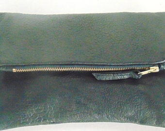 Genuine Black Leather clutch purse,fold over clutch,clutch bag