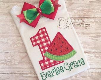 Watermelon shirt, watermelon birthday shirt, red watermelon shirt, fabric tutu, watermelon fabric tutu, watermelon party shirt