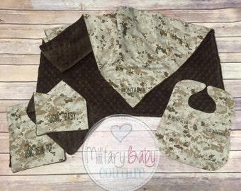 Military Baby Starter Pack #2--Baby Blanket, Set of Bibs and Uniform Bib-Marine Corps, Navy, Army, Air Force