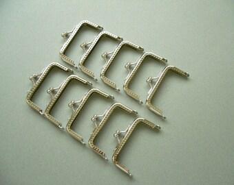 "CLOSING SALE  3 1/4"" x 1 1/2"" ( 8 CM ) Nickel Coin Purse Frames - Clutch Purse Frame - Rectangle Purse Frames -10 pcs Set"