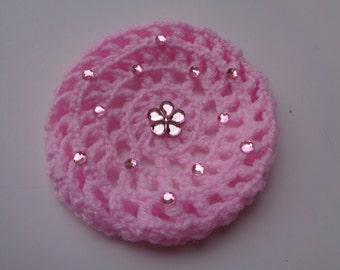 SMALL Bun Cover with Pink Rhinestones, 24 Colors, Bun Holder, Crochet Bun Cover, Bun Wrap, Bun Maker, Ballet, Dance, Gymnastics