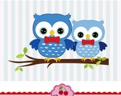 Owls Clipart,Big brother and Lil brother digital clip art CHERRY3- for Personal and Commercial Use