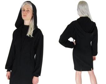 CLAUDE MONTANA Black Hooded Minimalist Wool Dress
