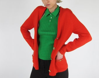 SALE % CELINE Vintage Orange Red Gold Chain Trim Cardigan