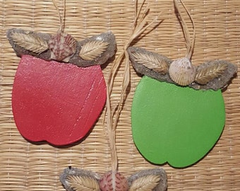 SALE! Rustic Apple Ornaments or Magnets! Hand Cut Wood, Made with Sand, Shells,Sea Oats, heavy duty magnet on backside.