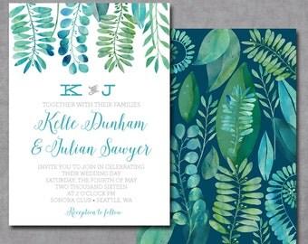 Watercolor Boho Jungle Tropical Wedding Invitation Printable or  Printed Cards 5x7