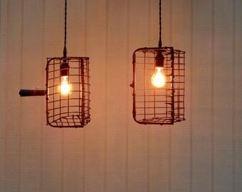 Beach House Cottage Lights - Vintage Clam Rake Basket Pendant Lights -