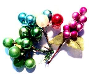 Vintage Mercury glass balls grapes Christmas decorations crafting supplies