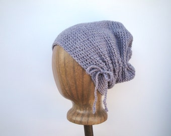 Slouchy Hat, Lavender Purple, Soft Wool, Crochet Slouch Hat, Drawstring Bow, Gathered Scrunch Hat, Turban Hat