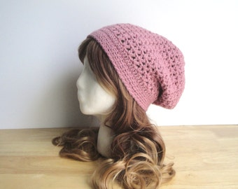 Crochet Slouch Hat, Rose Pink, Slouchy Hat Beanie, Women Teen Girls, Lacy Cute Chic, Mauve Pink