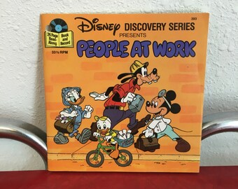 Vintage Book and 45 Record, Disney Discovery, People at Work, Vintage Disney Record, Story Book and 45 Record