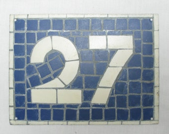 House Number Plate No. 27, Original French Blue and White Sign, Mosaic Signs, French Signs, French House Number Plate, Blue and White Signs