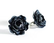 778_Denim flower, Blue flower, Ring, Rings, Flower ring, Floral ring, Denim style, Jean flower, Flower denim, Fabric  ring, Denim jewelry