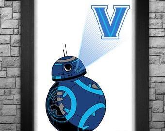"BB-8 ""Villanova Wildcats"" inspired limited edition art print. Available in 3 sizes!"