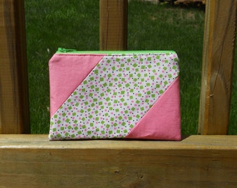 Zipper Pouch, Confetti Funfetti, Pink and Green Pouch, One of a Kind