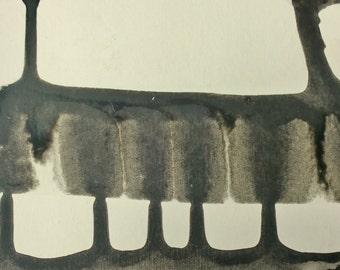 Black and White Original Art on a Postcard P999