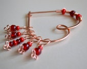 Reserved for cyndlee - Stitch Markers With a Marker Keeper Shawl Pin - Red Glass Beads and Copper Wire - Set of 5