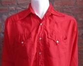 Mens LARGE cowboy shirt, BR Westerns, vintage, red, pearl snaps (653)