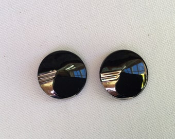 Set of Two  Vintage  Black Art Deco Glass  Buttons Sew Through Buttons