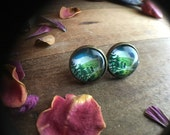 INTO THE WILD a pair of glass forest mountain scene studs in bronze faux plugs gauges