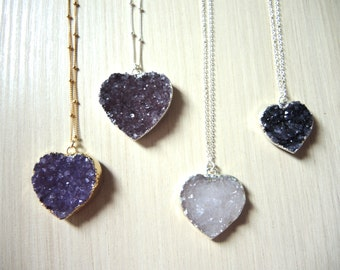 Druzy Necklace, Druzy Heart Pendant Necklace, Sterling Silver Necklace, 14K Gold Filled Necklace, Druzy Jewelry Gifts For Her, Natural Stone