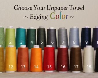 Reusable Unpaper Eco Friendly Towels -- Organic Birdseye Unbleached Cotton -- Set of 48, Choose Your Edge Color Thread