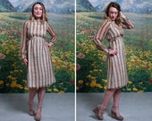 70s Leafy BOHO Babe Patterned Collared Midi DRESS (small)