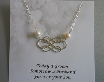 Mother of the Groom Gift, Infinity and Pearl Necklace,Gift for Grooms Mother,Sterling Silver Infinity Necklace,Wedding Jewelry