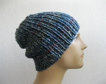 Blue Knit Beanie - Ribbed Beanie - Slouchy Beanie - Beanie Hat - Knitted Slouchy Beanie - Beanies - Knit Beanie Hat - Slouchy Beanie Hat