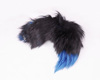 "Real Blue dyed 16""-19"" Silver Fox Fur Tail with White Tip Totem Keychain Key Ring Key Fob for Purse, Anime Costume, Etc"