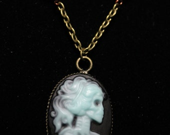 Glow in the Dark Skeleton Cameo Necklace