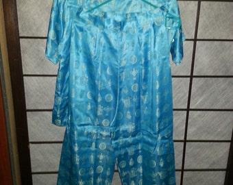 Sky Blue Vintage Chinese Pajamas M