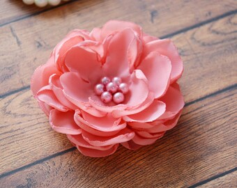 Bridal Hair Piece, Coral Pink, Flower Hair Clip, Wedding Hair Flower, Bridal Hair Piece, Bridesmaid Hair Accessories, Flower for Hair, B