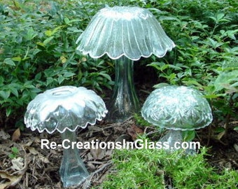 Garden Art. Trio of Mushrooms.  Made with upcycled glass.