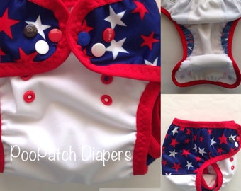 Patriotic Star with red FOE and Patriotic Aqua Swim Diaper with blue FOE and leg gussets (M-L)