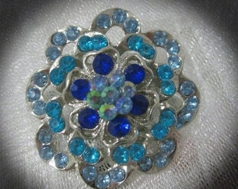 SALE Vintage Blue AB Rhinestone and Silver Tone Brooch-Gorgeous and Stunning