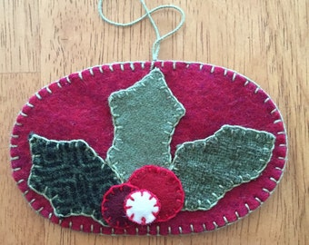Lovely Holly And Berries Christmas Ornament