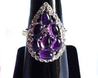 Natural Amethyst 925 Sterling Silver Ring setted Gemstone Cabochons & Cubic Zircona White Rhodium Plated Jewelry