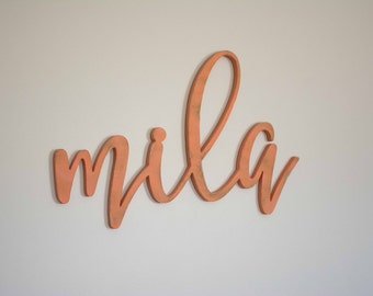 Calligraphy Baby Name Sign, Wooden, Above the Crib, Nursery Wall Decor Art, Wood Letters