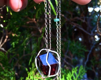 Raw Garnet Sterling Silver Crystal Cage
