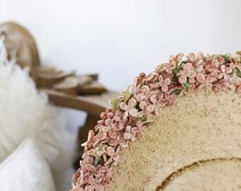 40s Floral StrawHat. Velvet Buds. / Derby Hat. Floppy Hat. Cartwheel Hat.