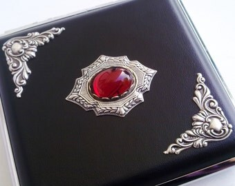 Gothic Cigarette Case Silver Case Black Cigarette Case Blood Red Jewel Victorian Gothic Accessories