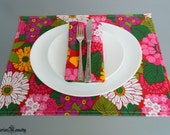 Placemat set of 4 linen cotton blend multicolor summer spring flowers easter mothers day placemats